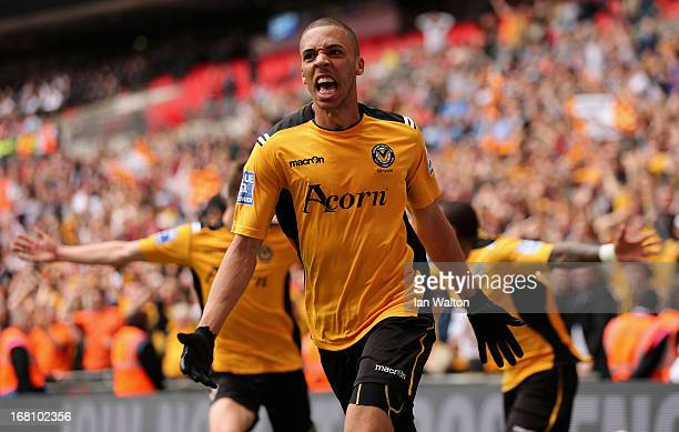 Christian Jolley of Newport County celebrates scoring a goal during the Blue Square Bet Premier Conference Play-off Final between Wrexham and Newport...