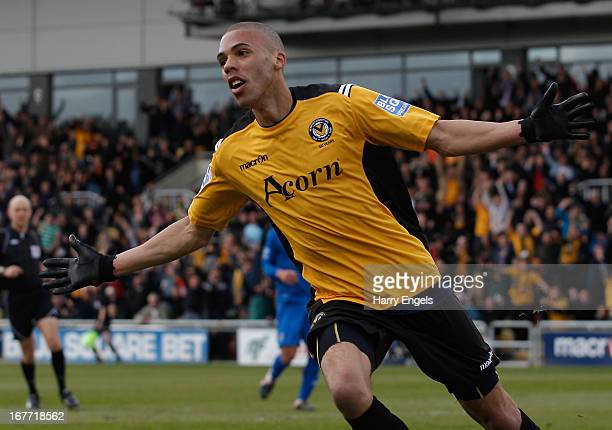 Christian Jolley of Newport County celebrates scoring his side's first goal during the Blue Square Bet Premier Conference Playoff second leg match...