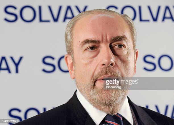 Christian Jourquin chief executive officer of Solvay SA speaks to reporters after a news conference at Solvay's headquarters in Brussels Belgium on...