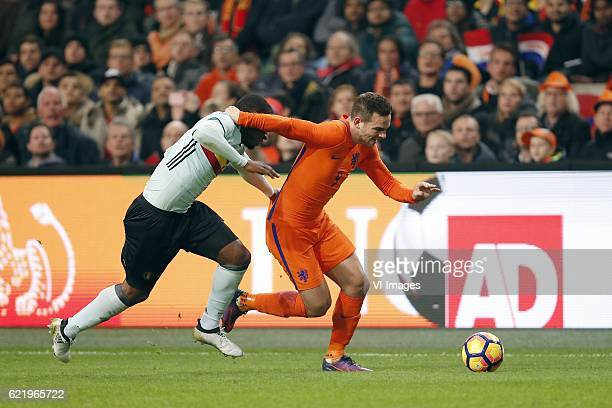 Christian Kabasele of Belgium Vincent Janssen of Hollandduring the friendly match between Netherlands and Belgium at the Amsterdam Arena on November...