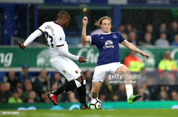 Christian Kabasele of Watford and Tom Davies of Everton during the Premier League match between Everton and Watford at Goodison Park on May 12 2017...