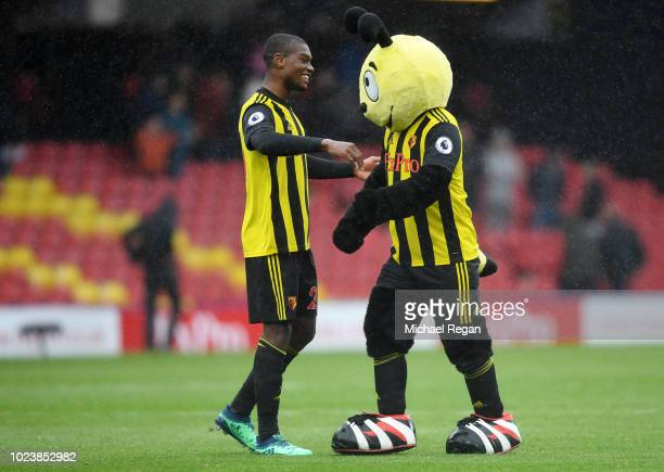 Christian Kabasele of Watford celebrates victory with mascot Harry the Hornet following the Premier League match between Watford FC and Crystal...