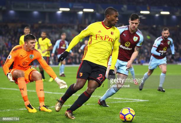 Christian Kabasele of Watford controls the ball during the Premier League match between Burnley and Watford at Turf Moor on December 9 2017 in...