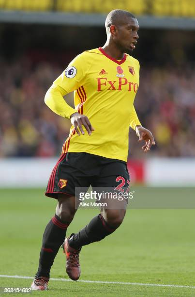Christian Kabasele of Watford during the Premier League match between Watford and Stoke City at Vicarage Road on October 28 2017 in Watford England