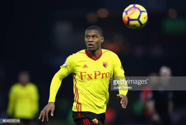 Christian Kabasele of Watford during the Premier League match between Watford and Southampton at Vicarage Road on January 13 2018 in Watford England