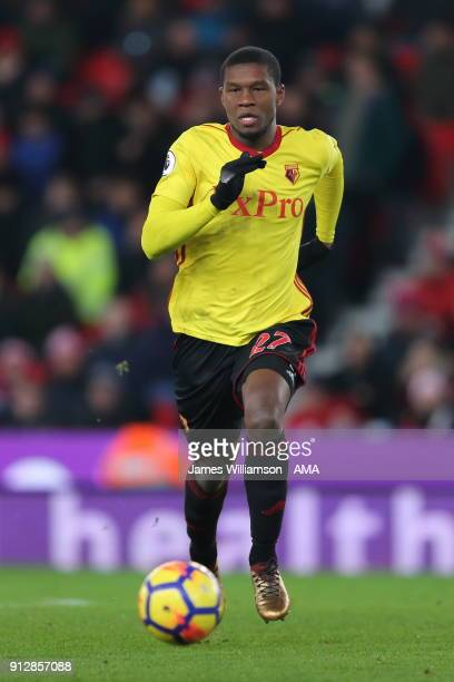 Christian Kabasele of Watford during the Premier League match between Stoke City and Watford at Bet365 Stadium on January 31 2018 in Stoke on Trent...