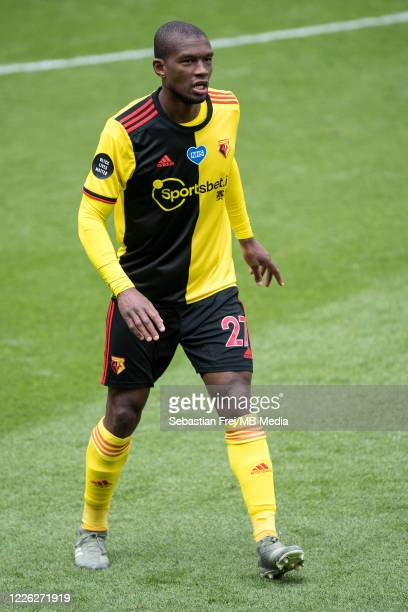 Christian Kabasele of Watford FC during the Premier League match between Watford FC and Newcastle United at Vicarage Road on July 11 2020 in Watford...