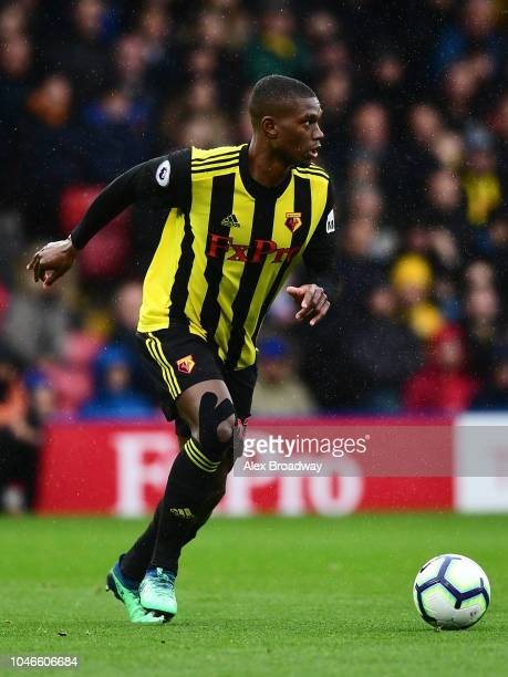 Christian Kabasele of Watford FC in action during the Premier League match between Watford FC and AFC Bournemouth at Vicarage Road on October 6 2018...