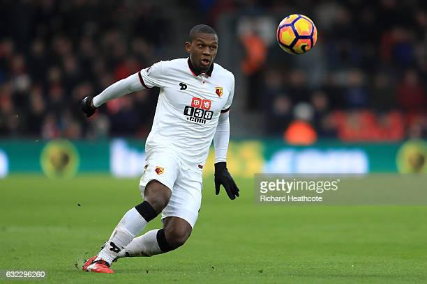 Christian Kabasele of Watford in action during the Premier League match between AFC Bournemouth and Watford at Vitality Stadium on January 21 2017 in...