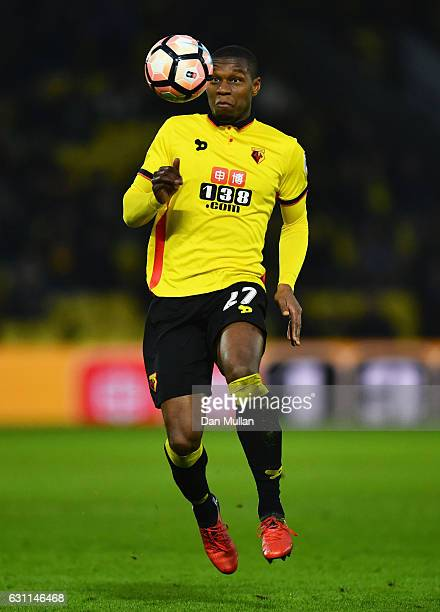 Christian Kabasele of Watford in actionduring The Emirates FA Cup Third Round match between Watford and Burton Albion at Vicarage Road on January 7...