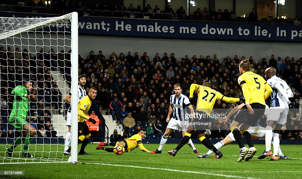 Christian Kabasele of Watford scores his team's first goal during the Premier League match between West Bromwich Albion and Watford at The Hawthorns on December 3, 2016 in West Bromwich, England.