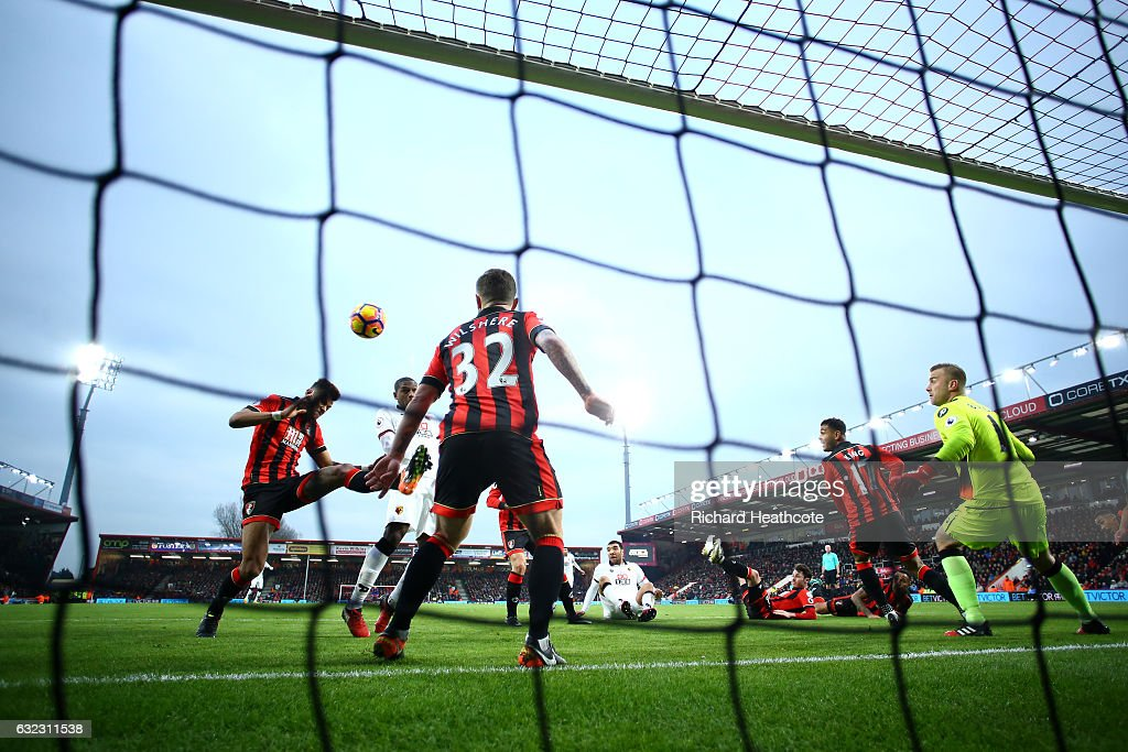 Christian Kabasele of Watford scores their first goal during the Premier League match between AFC Bournemouth and Watford at Vitality Stadium on January 21, 2017 in Bournemouth, England.