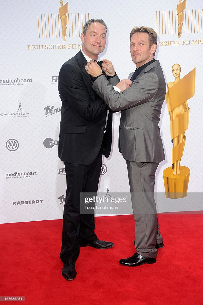 Christian Kahrmann and Thure Riefenstein attend the Lola German Film Award 2013 at Friedrichstadtpalast on April 26, 2013 in Berlin, Germany.