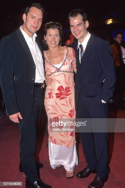Christian Kahrmann Anke Engelke and Andreas Grimm attend the Deutscher Filmpreis award in October 1999 in Cologne Germany