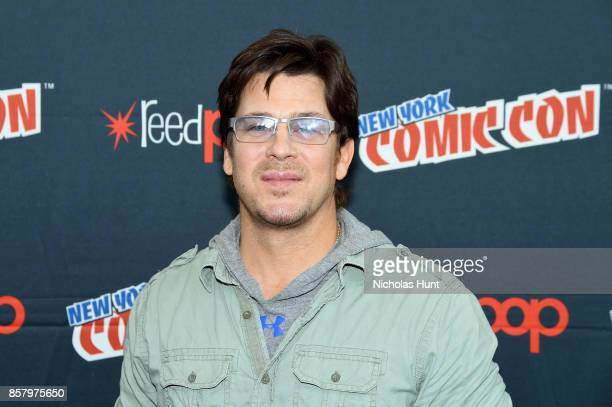 Christian Kane attends The Librarians and Bad Samaritan with Dean Devlin Panel Press Room at the 2017 New York Comic Con Day 1 on October 5 2017 in...