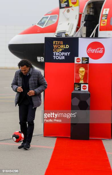Christian Karembeu performs during the FIFA World Cup Trophy Tour presented by CocaCola at Heydar Aliyev Airport