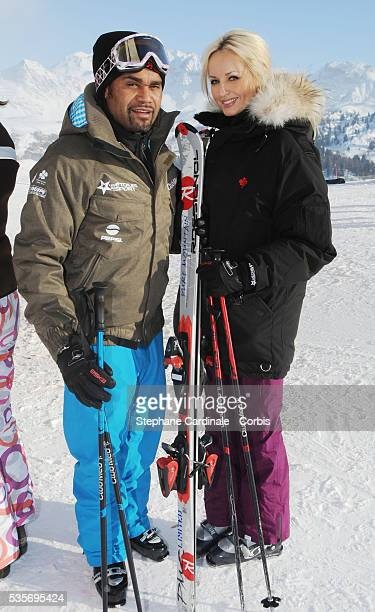 Christian Karembeu with his wife Adriana Karembeu attend Les Etoiles du Sport 8 th edition in La Plagne