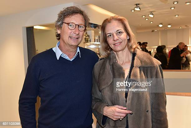 Christian Karg and Katrin Sachse during the Allude store opening on January 6 2017 in Kitzbuehel Austria