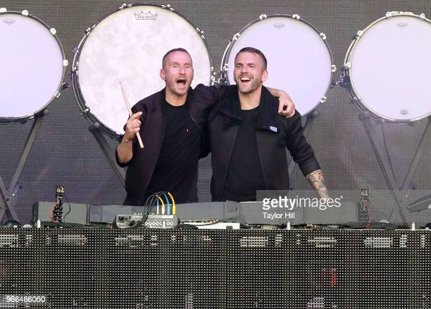 Christian Karlsson and Linus Eklšw of Galantis performs onstage during Day 2 of 2018 Governors Ball Music Festival at Randall's Island on June 2 2018...