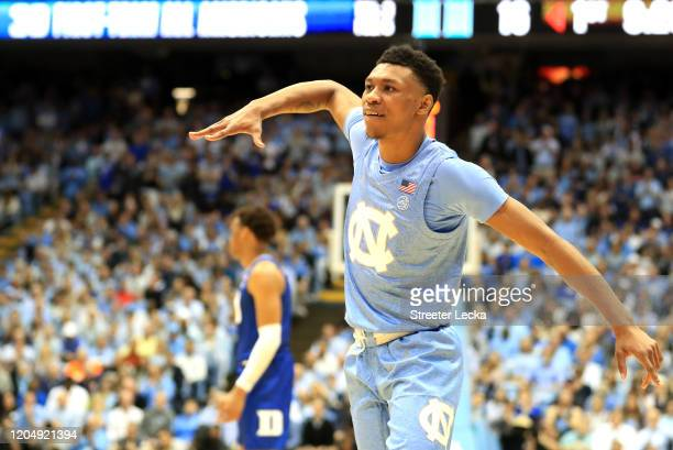 Christian Keeling of the North Carolina Tar Heels reacts after a play against the Duke Blue Devils during their game at Dean Smith Center on February...