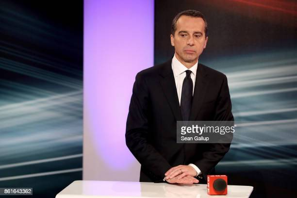 Christian Kern Austrian Chancellor and leader of the Austrian Social Democrats gives television interviews following Austrian parliamentary elections...