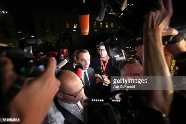 Christian Kern Austrian Chancellor and leader of the Austrian Social Democrats arrives for television interviews following Austrian parliamentary...
