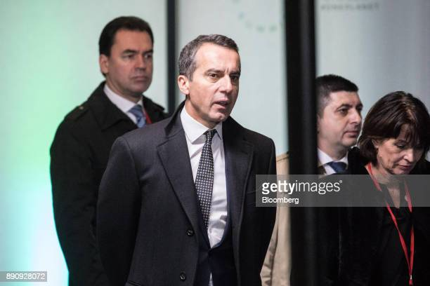 Christian Kern Austria's chancellor center arrives at the One Planet Summit in Paris France on Tuesday Dec 12 2017 French President Emmanuel Macron...