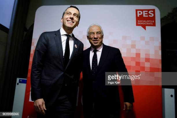 Christian Kern former chancellor of Austria and Antonio Costa Prime Minister of Portugal in the course of the PES party congress on December 01 2017...