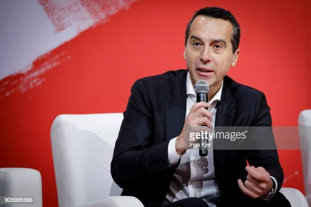 Christian Kern former chancellor of Austria in the course of the PES party congress on December 02 2017 in Lisbon Portugal