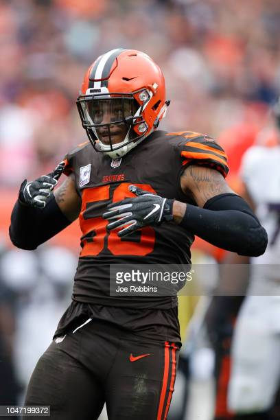 Christian Kirksey of the Cleveland Browns celebrates a tackle in the third quarter against the Baltimore Ravens at FirstEnergy Stadium on October 7...