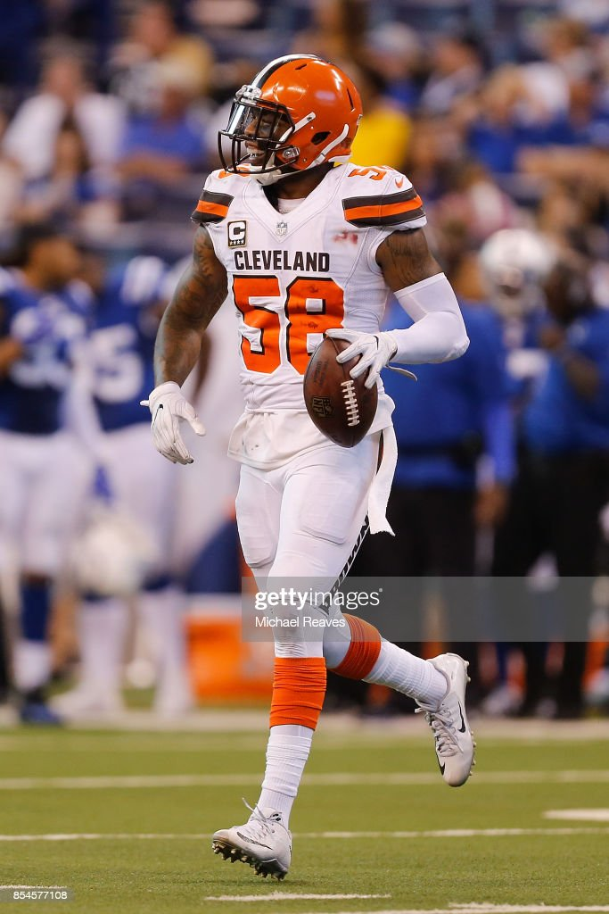 Christian Kirksey #58 of the Cleveland Browns celebrates after recovering a fumble against the Indianapolis Colts at Lucas Oil Stadium on September 24, 2017 in Indianapolis, Indiana.
