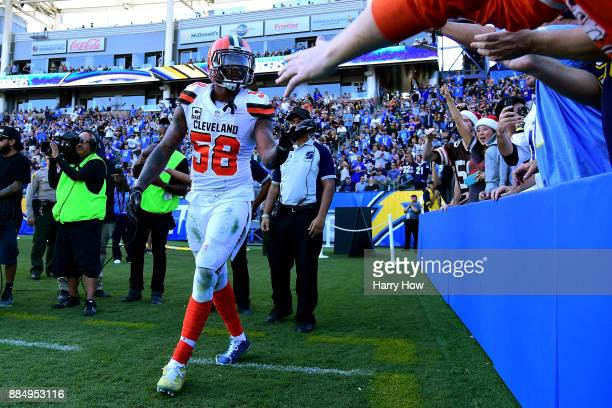 Christian Kirksey of the Cleveland Browns celebrates an incomplete pass in the endzone during the second quarter of the game against the Los Angeles...