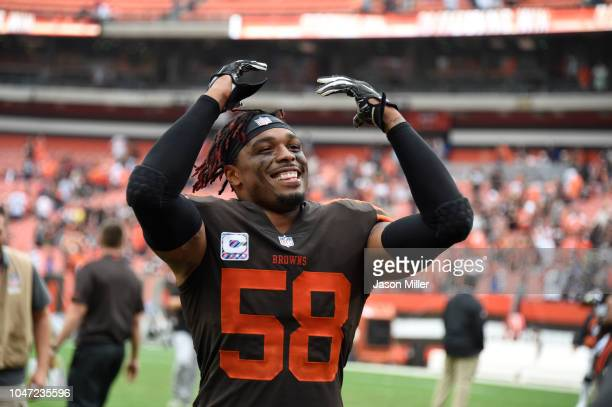 Christian Kirksey of the Cleveland Browns celebrates defeating the Baltimore Ravens at FirstEnergy Stadium on October 7 2018 in Cleveland Ohio The...