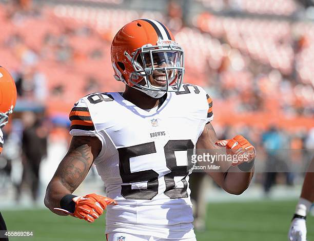 Christian Kirksey of the Cleveland Browns laughs while warming up prior to the game against the Baltimore Ravens at FirstEnergy Stadium on September...