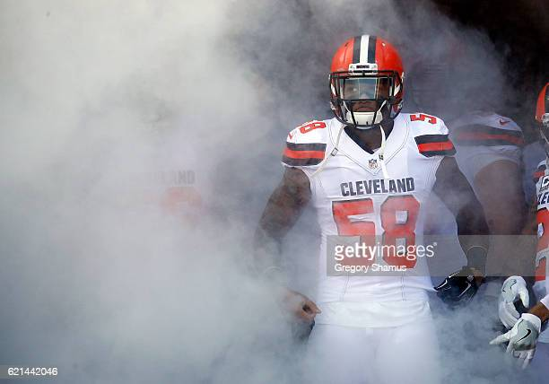 Christian Kirksey of the Cleveland Browns looks on before introductions against the Dallas Cowboys at FirstEnergy Stadium on November 6 2016 in...