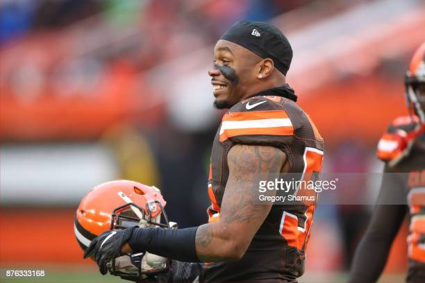 Christian Kirksey of the Cleveland Browns reacts to a play in the third quarter against the Jacksonville Jaguars at FirstEnergy Stadium on November...