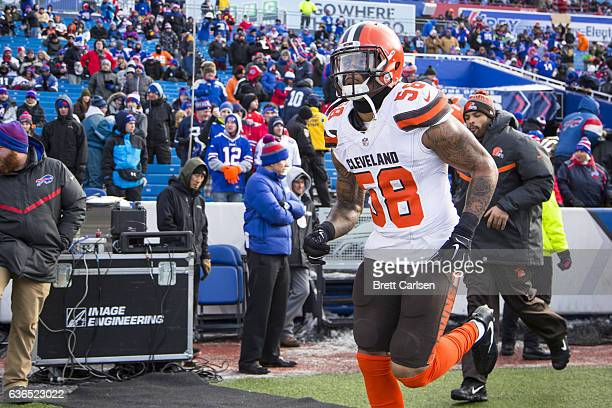Christian Kirksey of the Cleveland Browns runs onto the field before the game against the Buffalo Bills on December 18 2016 at New Era Field in...
