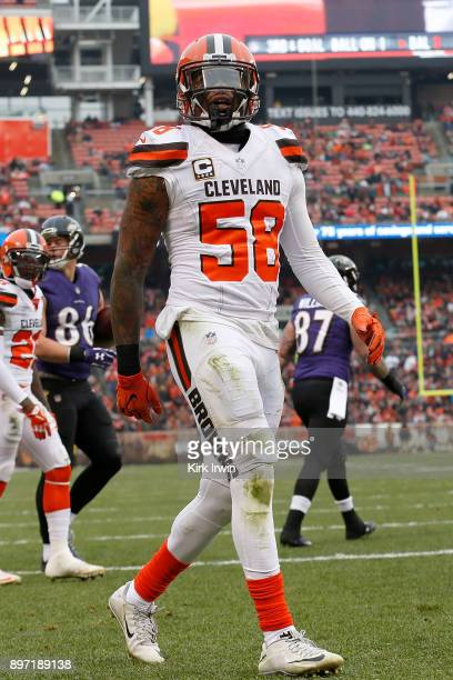 Christian Kirksey of the Cleveland Browns walks back to the line of scrimmage after making a defensive stop during the game against the Baltimore...