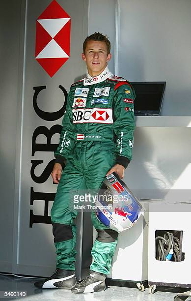 Christian Klien of Austria and Jaguar stands in the team garage during the practice session prior to the San Marino F1 Grand Prix on April 23 at the...