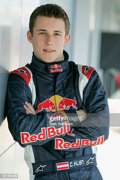 Christian Klien of Austria and Red Bull poses in the team garage during testing at Circuito de Jerez on February 8 2005 in Jerez Spain