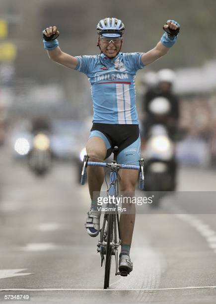 Christian Knees of Germany and Team Milram celebrates after winning the Rund um Koeln cycling race on April 17, 2006 in Cologne, Germany.