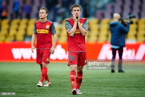 Christian Kohler of FC Nordsjalland looks dejected after the Danish Alka Superliga match between FC Nordsjalland and AGF Arhus at Right to Dream Park...
