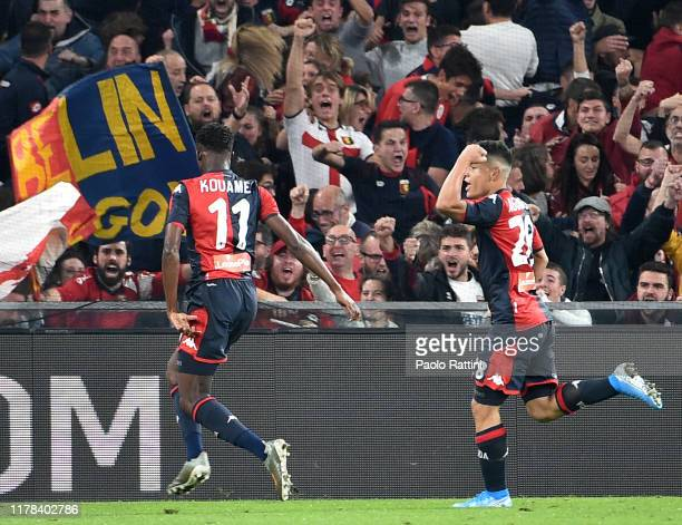 Christian Kouamè and Kevin Agudelo of Genoa CFC celebrate after score 21 during the Serie A match between Genoa CFC and Brescia Calcio at Stadio...