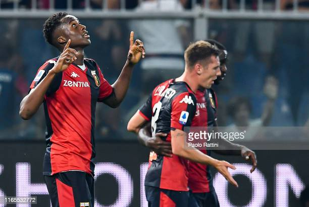 Christian Kouamé of Genoa celebrates after scoring a goal during the Serie A match between Genoa CFC and ACF Fiorentina at Stadio Luigi Ferraris on...