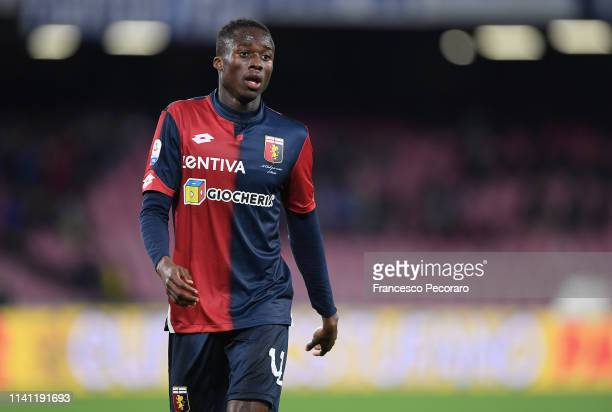 Christian Kouamè of Genoa CFC in action during the Serie A match between SSC Napoli and Genoa CFC at Stadio San Paolo on April 7 2019 in Naples Italy
