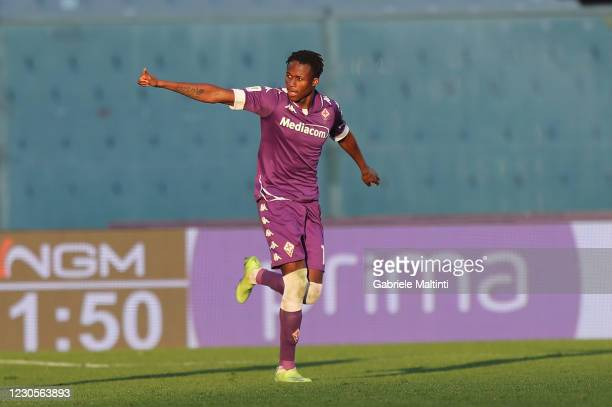 Christian Kouame of ACF Fiorentina celebrates after scoring a goal during the Coppa Italia match between ACF Fiorentina and FC Internazionale at...