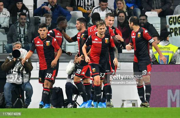 Christian Kouame of Genoa CFC celebrates after scoring the 11 goal during the Serie A match between Juventus and Genoa CFC at on October 30 2019 in...