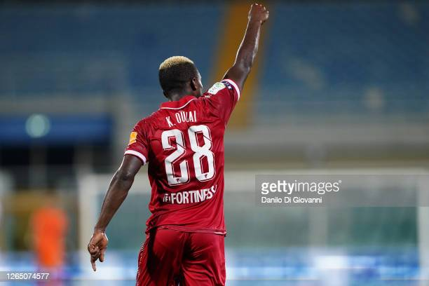 Christian Kouan of AC Perugia celebrate after scoring a goal during the serie B Play-Out first leg match between Pescara Calcio and AC Perugia at...