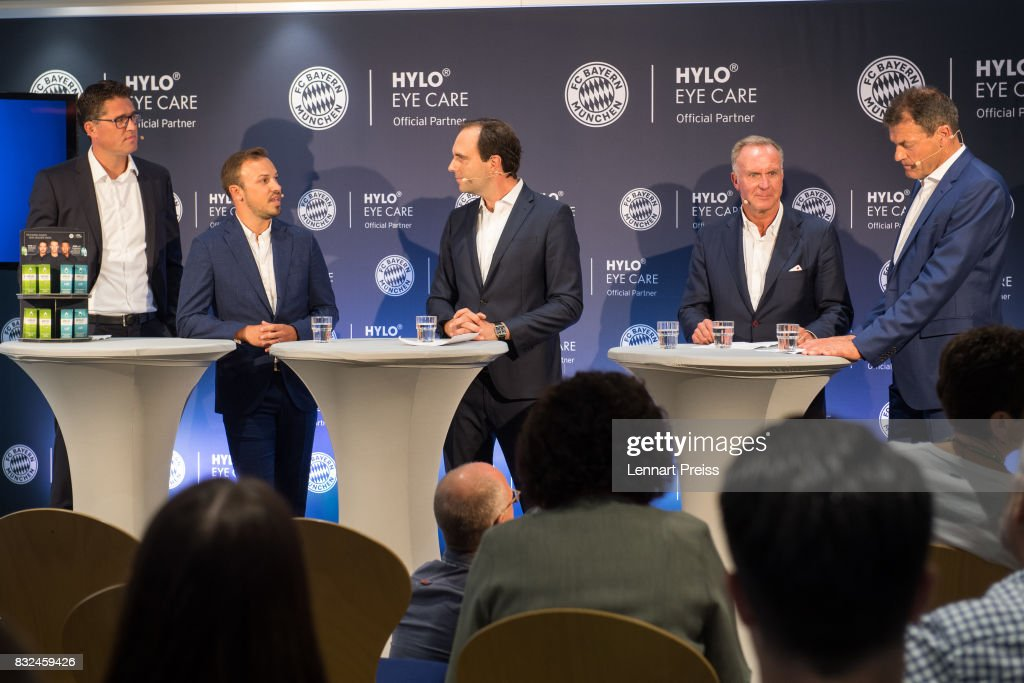 Christian Krensel (L-R), Global Director Marketing & Sales of Ursapharm, Dominik Holzer, CEO of Ursapharm, moderator Jonas Friedrich, Karl-Heinz Rummenigge, CEO of FC Bayern Muenchen AG and Andreas Jung, Executive Board Member of FC Bayern Muenchen, address the media during the presentation of the new partnership of FC Bayern Muenchen and HYLO Eye Care on August 16, 2017 in Munich, Germany.
