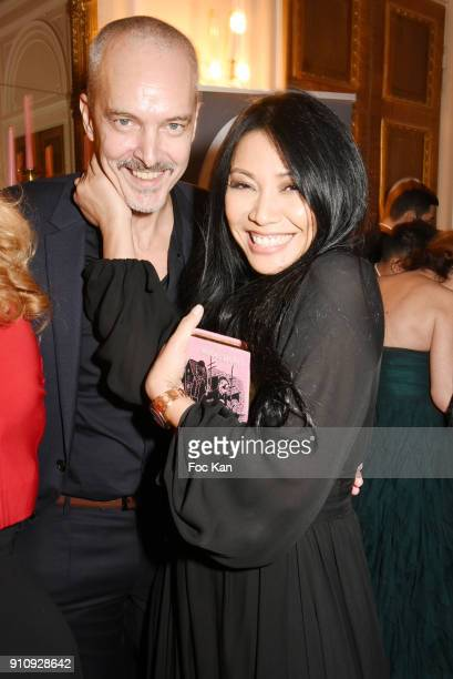 "Christian Kretschmar and Anggun attend the ""The Couture Ball"" Le Jean Paul Benielli Show Party at Le Mona Bismarck on January 26, 2018 in Paris,..."